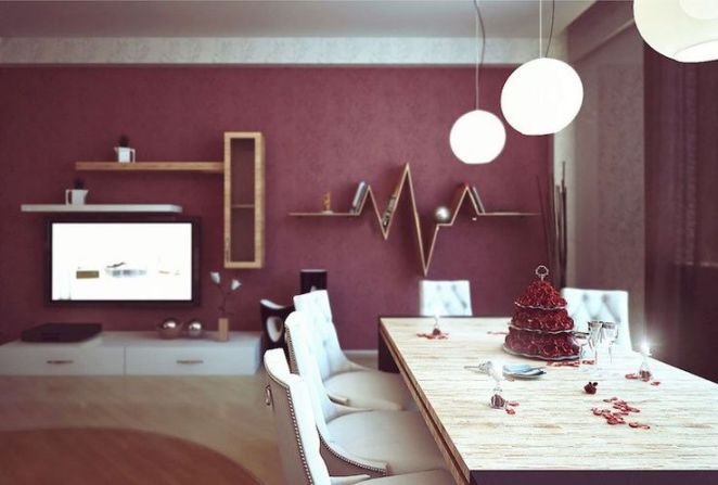 D co salon peinture salon ouvert sur la salle manger en couleur bourgogne tendance - Couleur tendance 2018 peinture ...