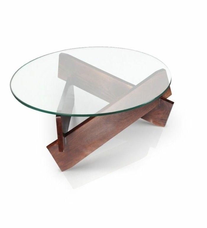 Déco Salon - Table Basse Bois Et Verre Ronde Pour Le Salon Moderne
