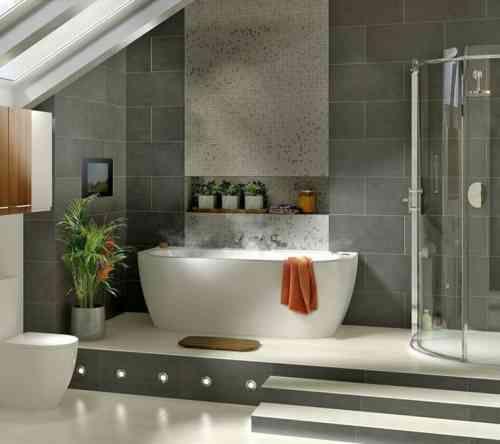 Idée décoration Salle de bain - carrelage de salle de bain grise ...