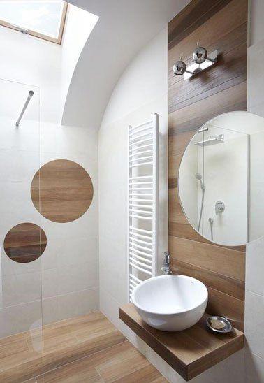 ide dcoration salle de bain carrelage imitation parquet dans une petite salle de bain dco - Salle De Bain Carrelage Imitation Parquet