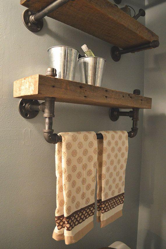 Id e d coration salle de bain tag res de salle de bain - Etagere en bois salle de bain ...