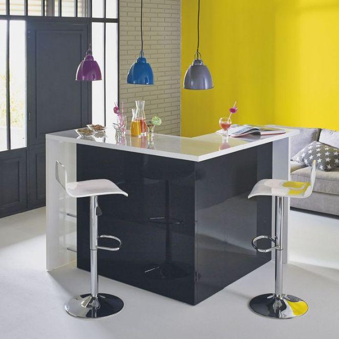 Idée Relooking Cuisine Bar En Angle Moderne Noir Et Blanc - Alinea chaises de cuisine pour idees de deco de cuisine