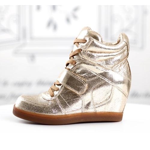 tendance basket 2017 basket femme montante compense or dore high top sneakers fashion mode. Black Bedroom Furniture Sets. Home Design Ideas