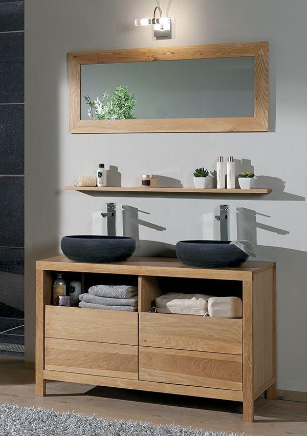 idée décoration salle de bain - salle de bains stone chêne huile ... - Salle De Bain Naturel