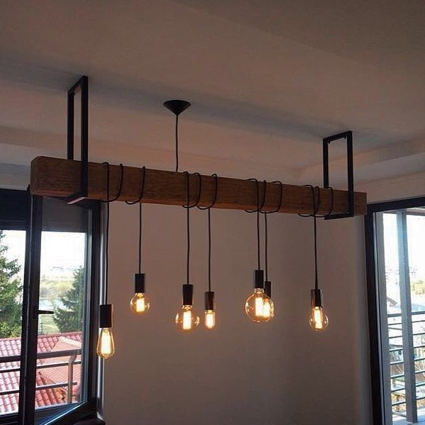 Id e relooking cuisine id e de suspension avec poutre et luminaires style industriel - Suspension bar cuisine ...