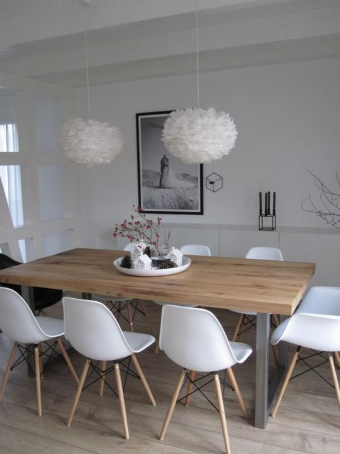Ide Relooking Cuisine Table Salle A Manger Suspensions Friques Et Chaises Blanches