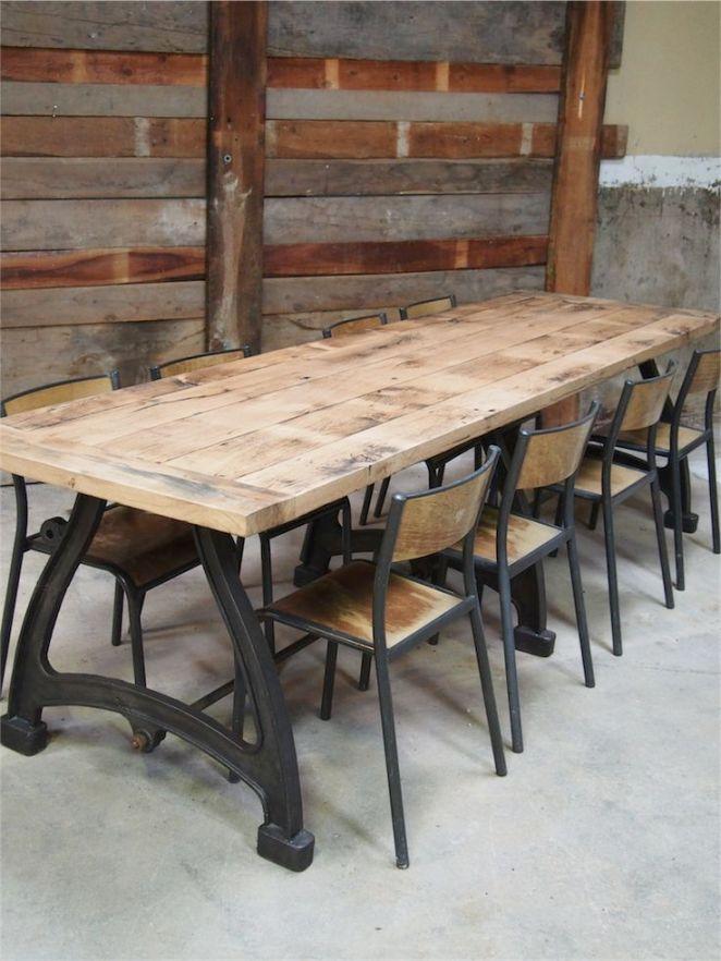 Idée Relooking Cuisine Tres Grande Table Industrielle Plateau - Table pied metal plateau chene pour idees de deco de cuisine