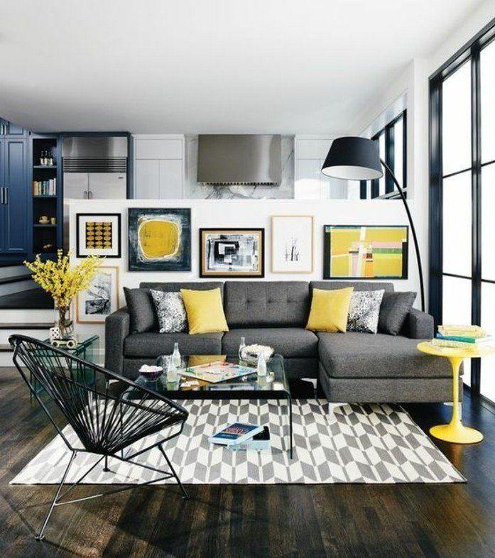 Déco Salon - charmante déco salon moderne, tapis gris et blanc ...