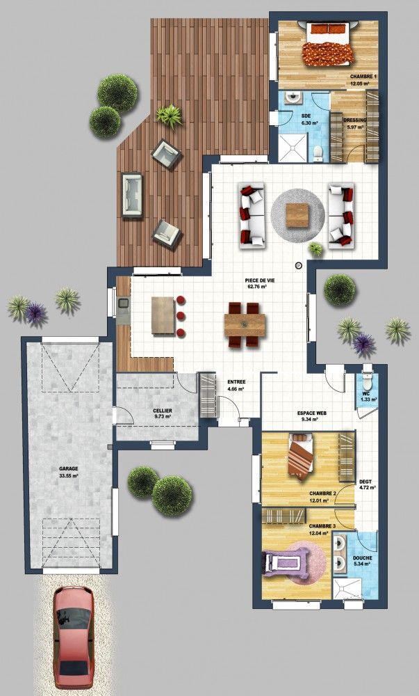D co salon constructeur maison contemporaine la chaume for Constructeur maison contemporaine 08