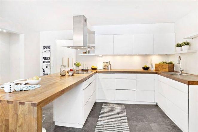 d co salon cuisine bois et blanc moderne avec des. Black Bedroom Furniture Sets. Home Design Ideas