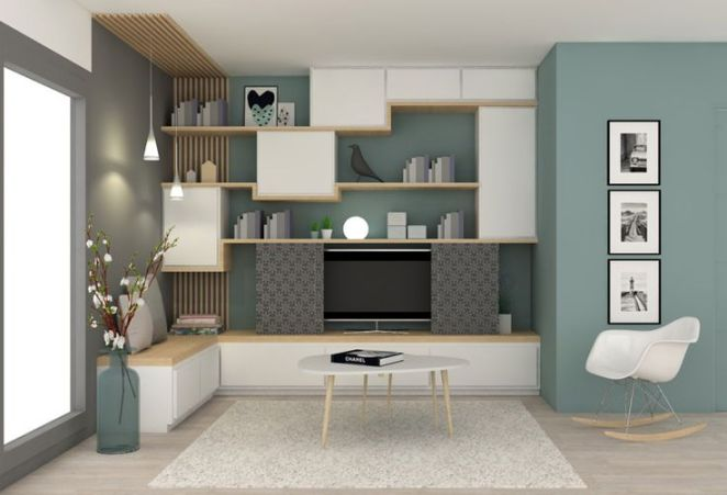 d co salon mur de meubles pour le salon blanc et bois avec retour ban sur le mur du fond. Black Bedroom Furniture Sets. Home Design Ideas