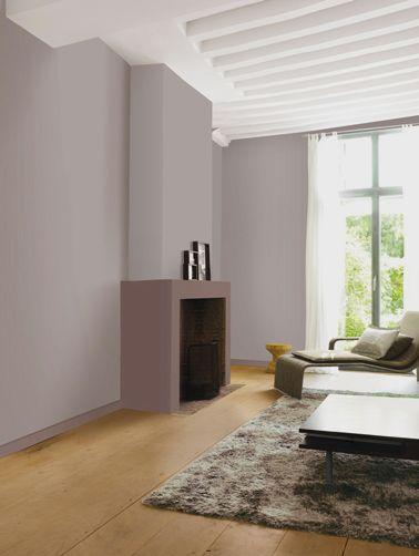 Déco Salon - peinture salon mur taupe poudré cheminée couleur ...