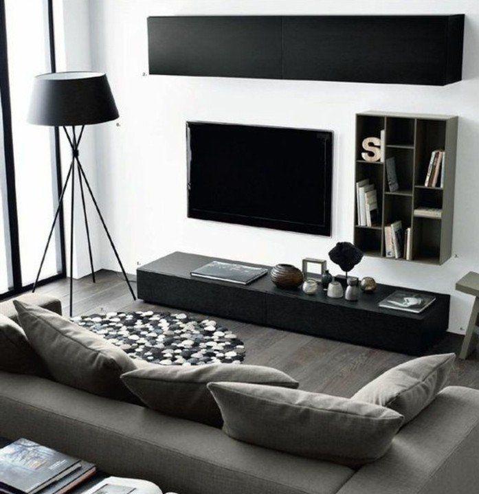 d co salon salon en noir blanc et gris idee deco salon aux lignes pur es peinture mur. Black Bedroom Furniture Sets. Home Design Ideas