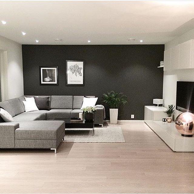 d co salon un mur noir pour le salon d co. Black Bedroom Furniture Sets. Home Design Ideas