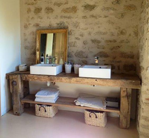 id e d coration salle de bain etabli bois vintage blog d co leading. Black Bedroom Furniture Sets. Home Design Ideas