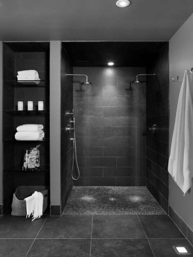 Idée décoration Salle de bain - salle de bain noire et douche ...