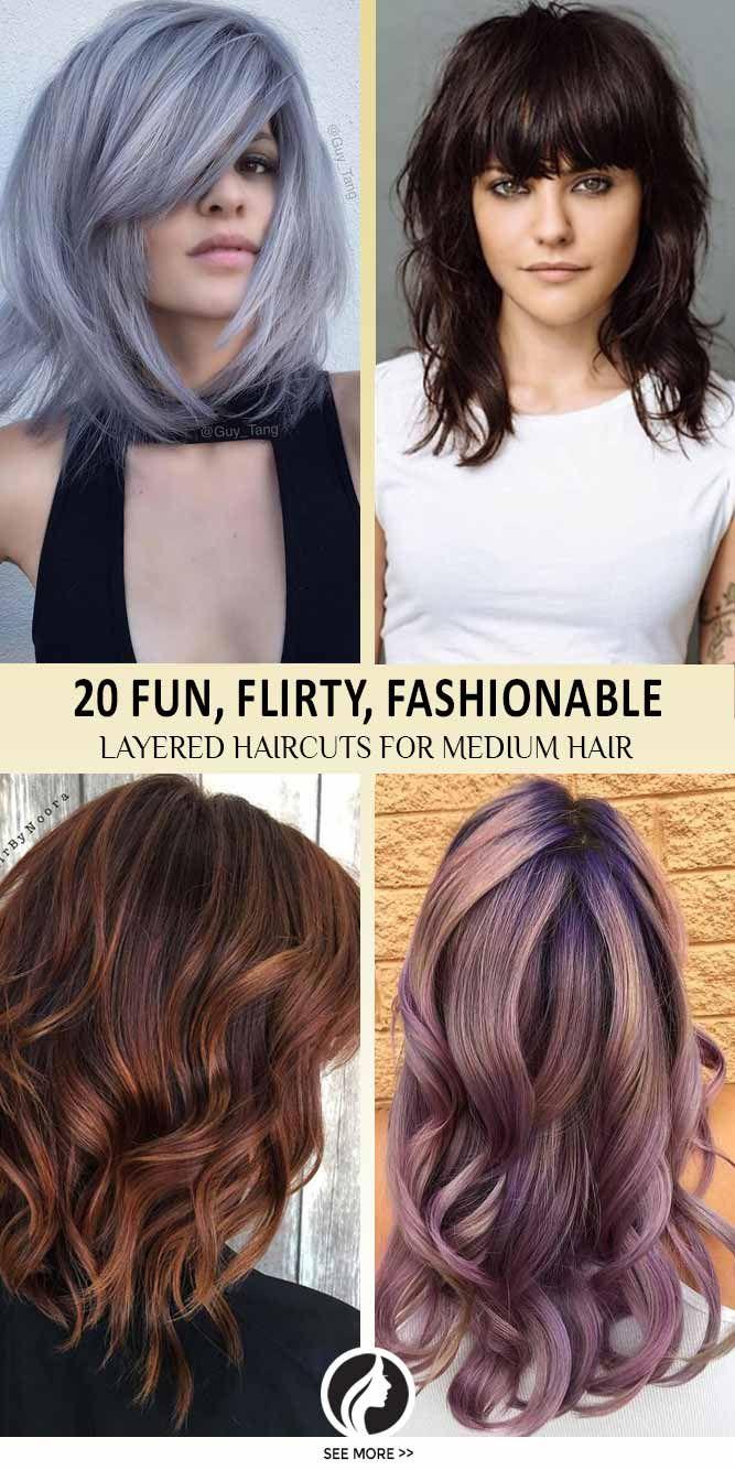 Nouvelle Tendance Coiffures Pour Femme 2017 / 2018 \u2013 Les coupes de cheveux  en couches pour les cheveux moyens sont amusantes, flirty et à la mode \u2026
