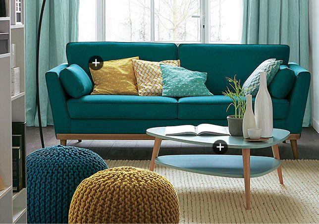 Dco Salon Canap Bleu Canard Style Scandinave Annes 50