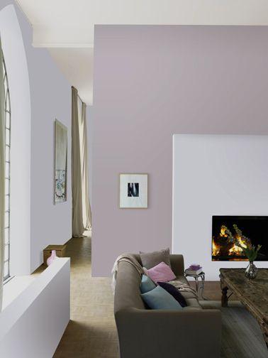 d co salon mur salon peinture couleur parme et blanc teint autour canap taupe. Black Bedroom Furniture Sets. Home Design Ideas