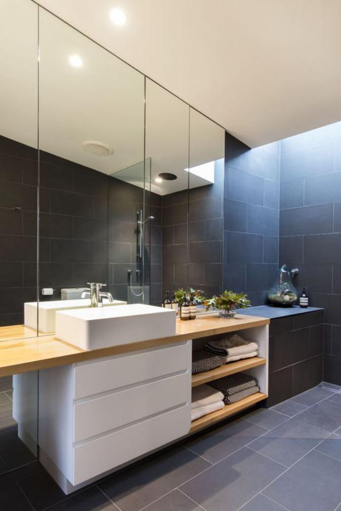 idée décoration salle de bain - carrelage gris, lavabo blanc et ... - Salle De Bain Carrelage Gris Et Blanc