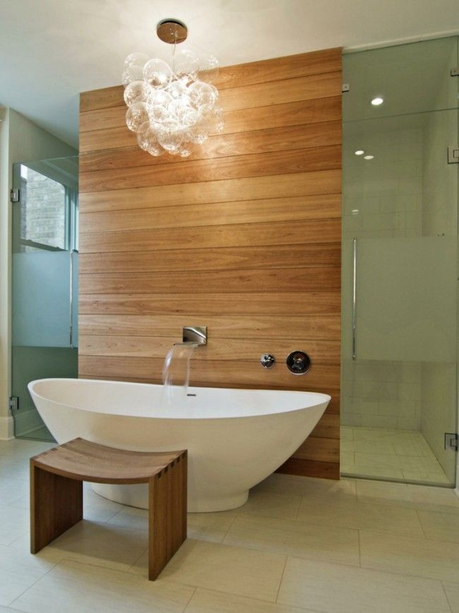 Id e d coration salle de bain lambris bois suspension for Idee deco salle de bain design