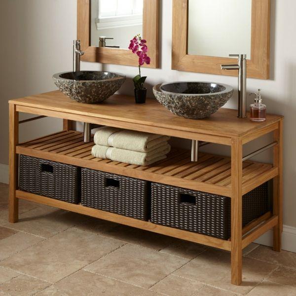 id e d coration salle de bain meuble de salle de bains en teck et vasques en pierre. Black Bedroom Furniture Sets. Home Design Ideas