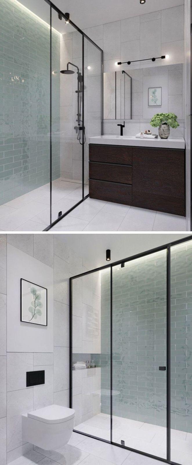 Idée décoration Salle de bain - salle de bain mur bleu canard ...