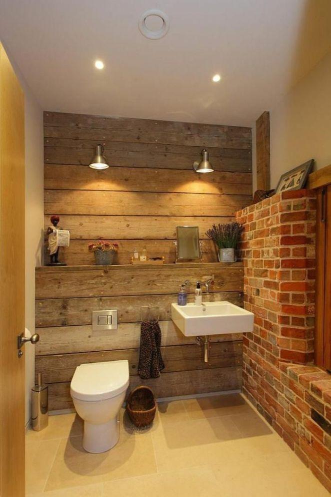 Idée décoration Salle de bain - salle de bain rustique, éclairage ...