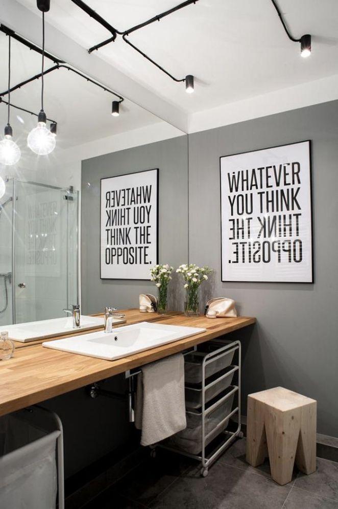 Idée décoration Salle de bain - Salle de bains moderne bois, gris ...