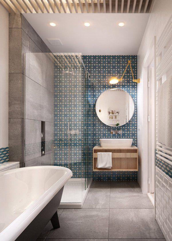 Idée décoration Salle de bain - Une salle de bain qui mélange les ...