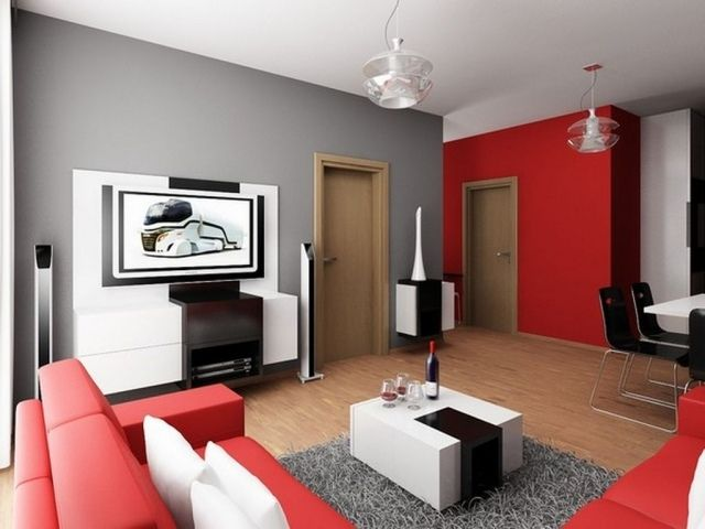 d co salon d co salon canap rouge table basse couleur blanche mur gris et rouge. Black Bedroom Furniture Sets. Home Design Ideas