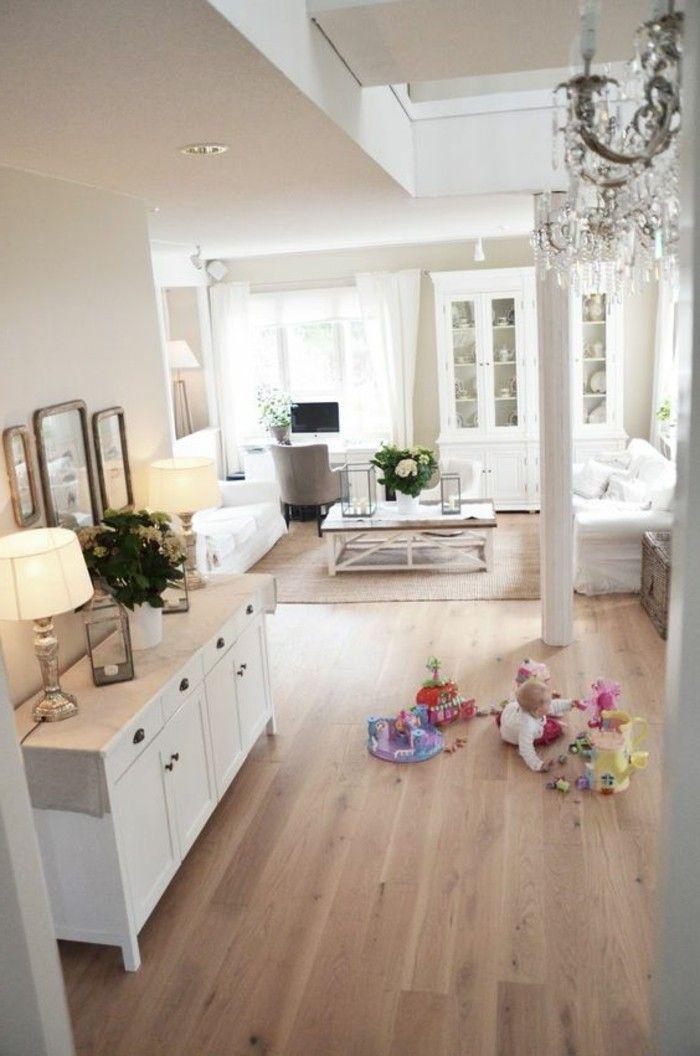 Déco Salon - salon classique revetement de sol en bois clair ...