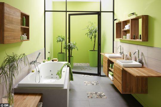 Idée décoration Salle de bain - Bois et galets pour cette salle de ...