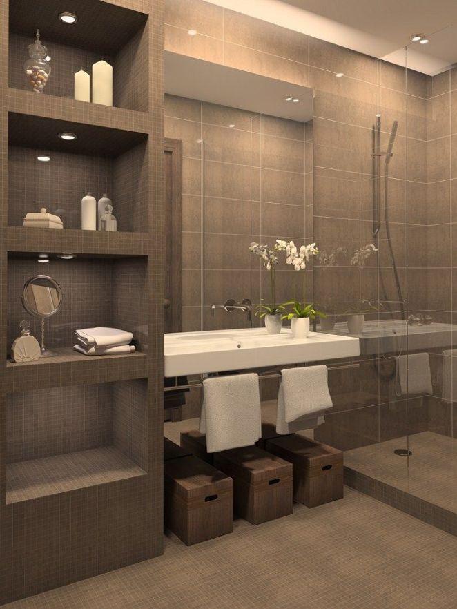 Idée décoration Salle de bain - Porte serviette, spots dans niche ...