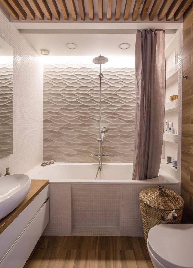 Id e d coration salle de bain rev tement mural salle de for Revetement mural bois salle de bain