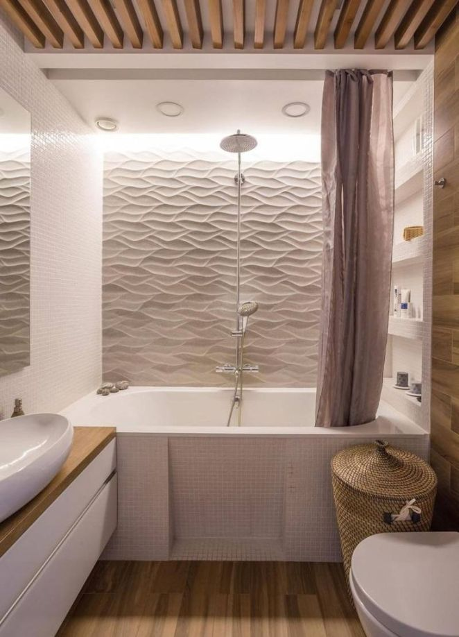 Id e d coration salle de bain rev tement mural salle de for Revetement mural bois pour salle de bain