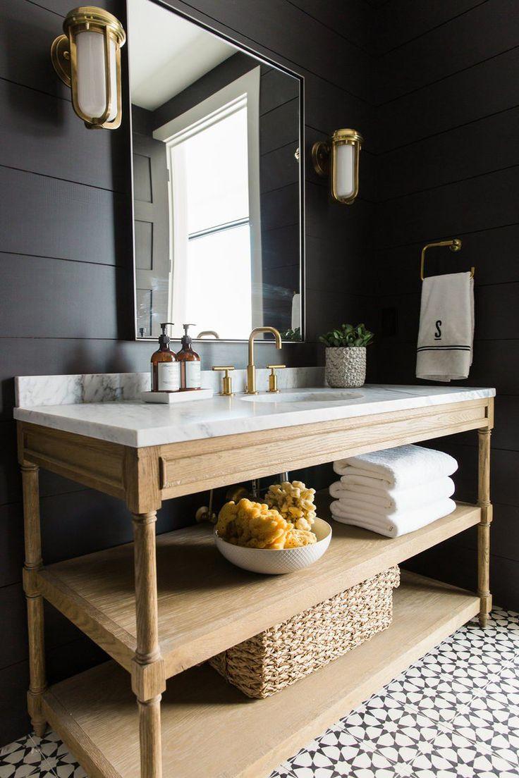 Emejing salle de bain noir blanc bois photos amazing for Idee salle de bain