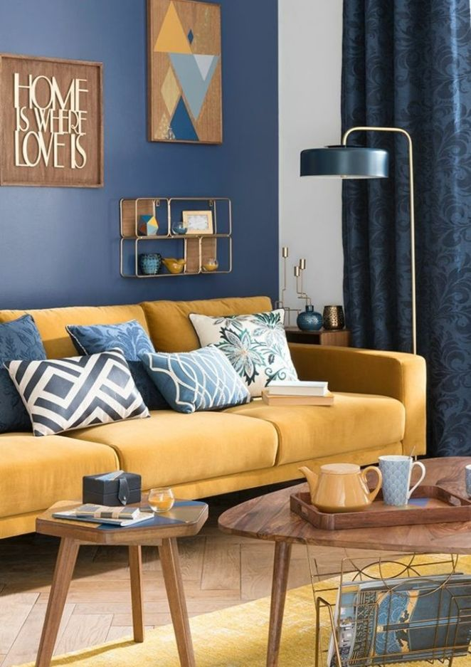d co salon deco bleu et jaune salon scandinave canap jaune moutarde decoration murale. Black Bedroom Furniture Sets. Home Design Ideas