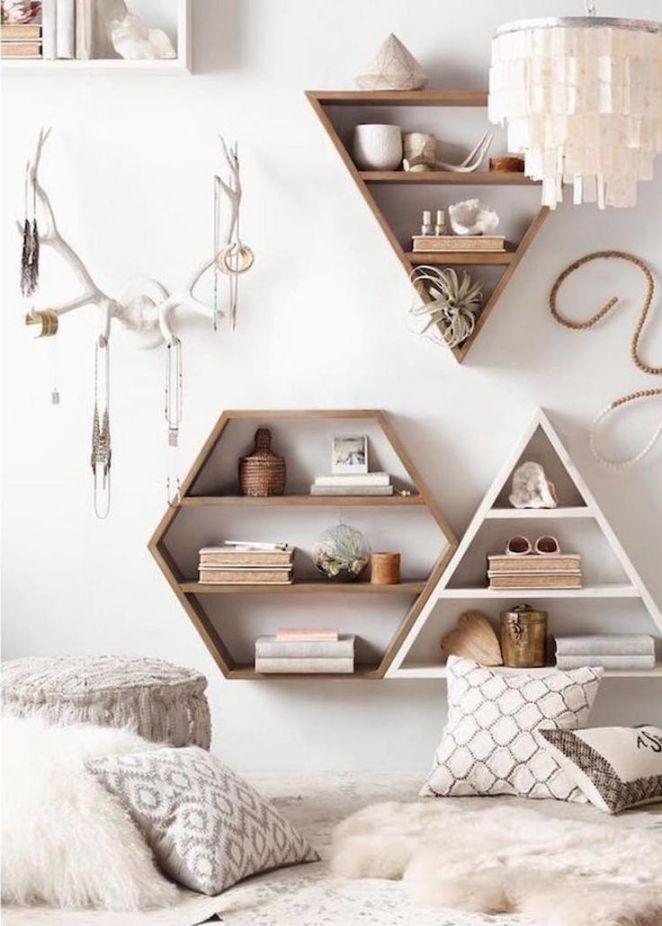Déco Salon - Étagères Murales De Design Géométriques En Bois En