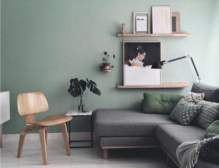 Dco Salon Mur Couleur Vert Pastel Canap Gris Deco