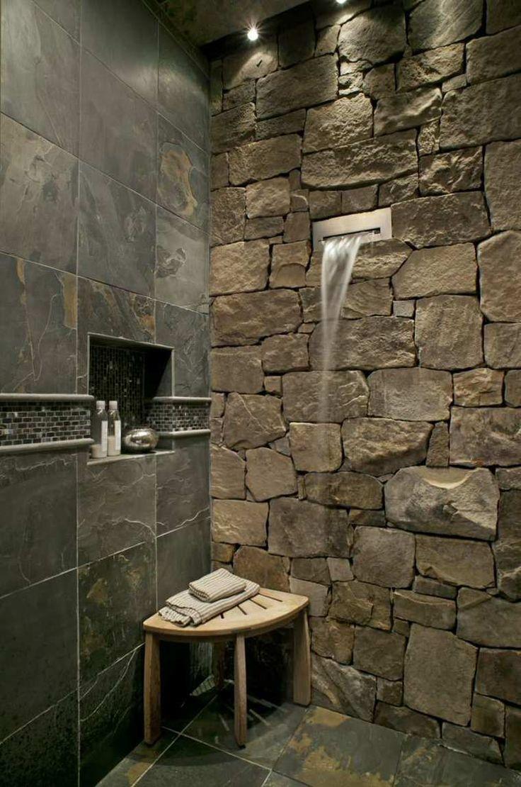 idée décoration salle de bain - carrelage ardoise pour salle de ... - Carrelage Ardoise Salle De Bain