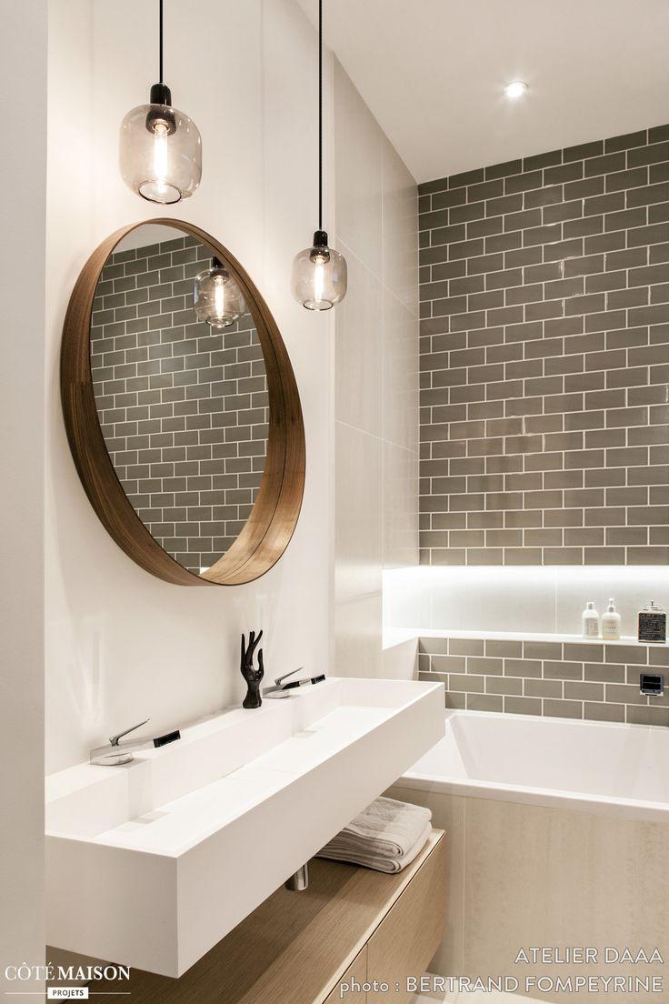 Idée décoration Salle de bain - Le carrelage métro couleur taupe ...