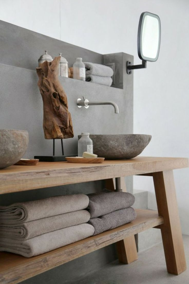 idée décoration salle de bain - mur en béton ciré j'aimerai assez ... - Beton Mural Salle De Bain