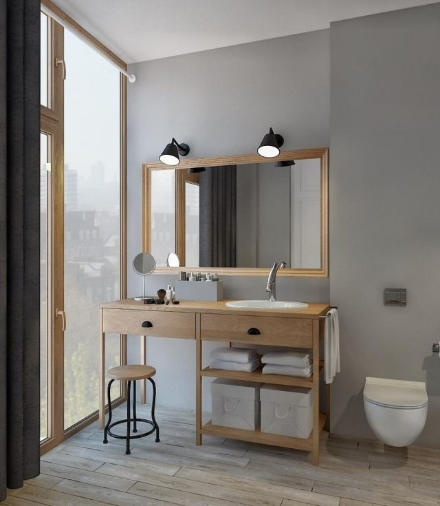 Id e d coration salle de bain vanit salle bains en bois for Idee deco salle de bain bois