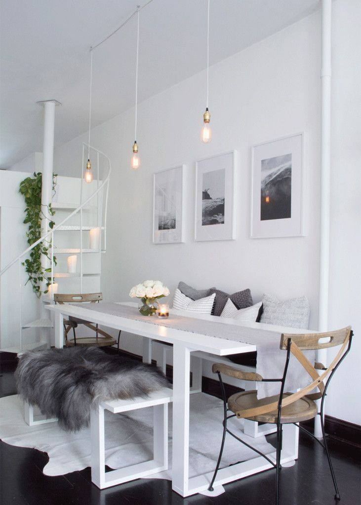 Salle A Manger Williamsburg Brooklyn All White Scandinavian Inspired Apartment Dining Room