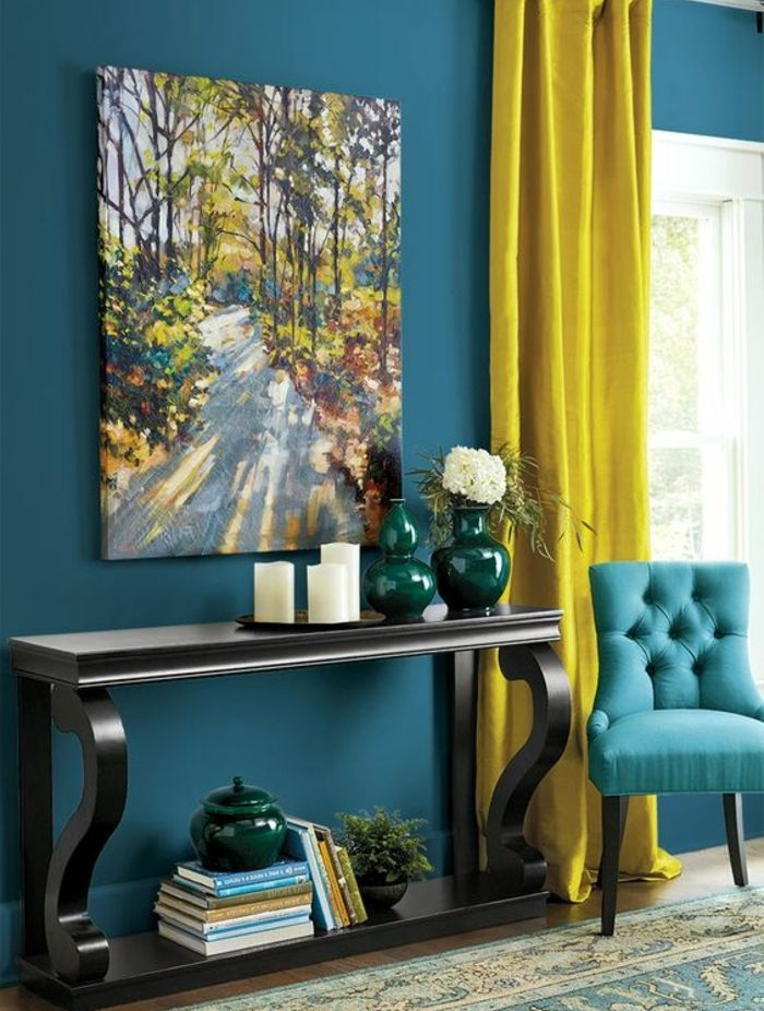 Dco Salon Deco Bleu Canard Et Jaune Table De Service