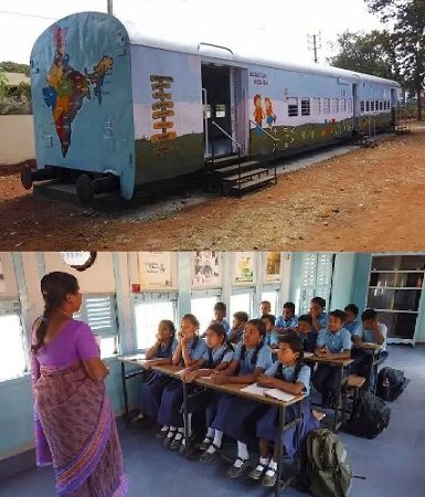 School classrooms made from abandoned train carriages Ashokapuran Primary school