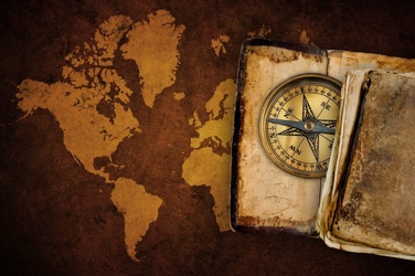 Geography-World Map Compass