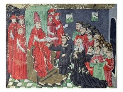 113072~Pope-Nicholas-V-Accompanied-By-Six-Cardinals-Grants-King-Alfonso-V-The-Magnanimus-Posters