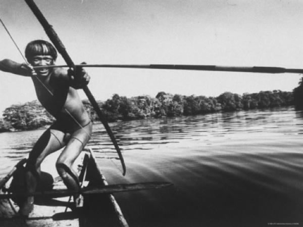 Stan-Wayman-Brazilian-Indian-Fishing-With-A-Bow-And-Arrow I-G-26-2698-Bwpud00Z